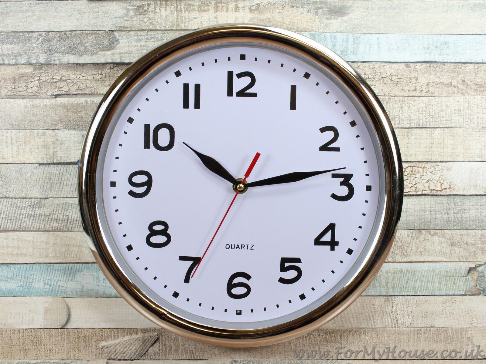 Chrome Office Wall Clock 28cm EBay