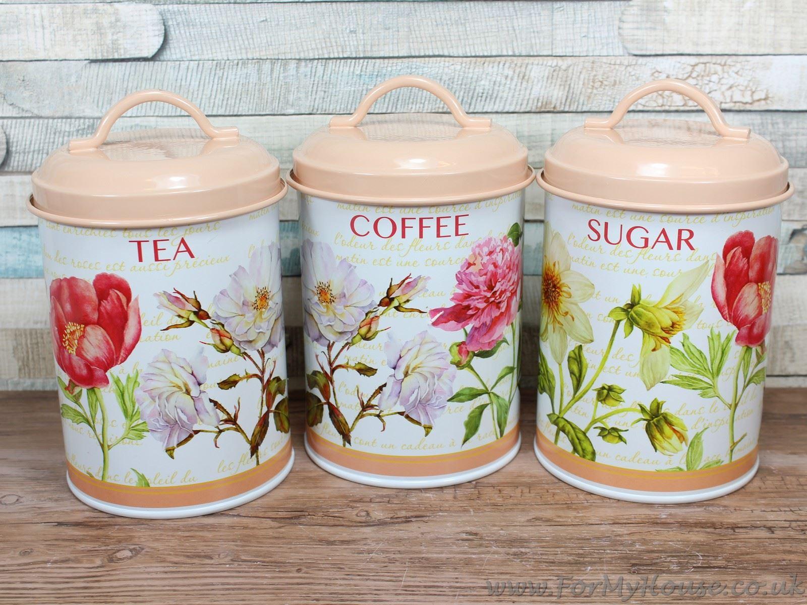 Floral Tea Coffee Sugar Tin Metal Canisters Kitchen Storage Set Ebay