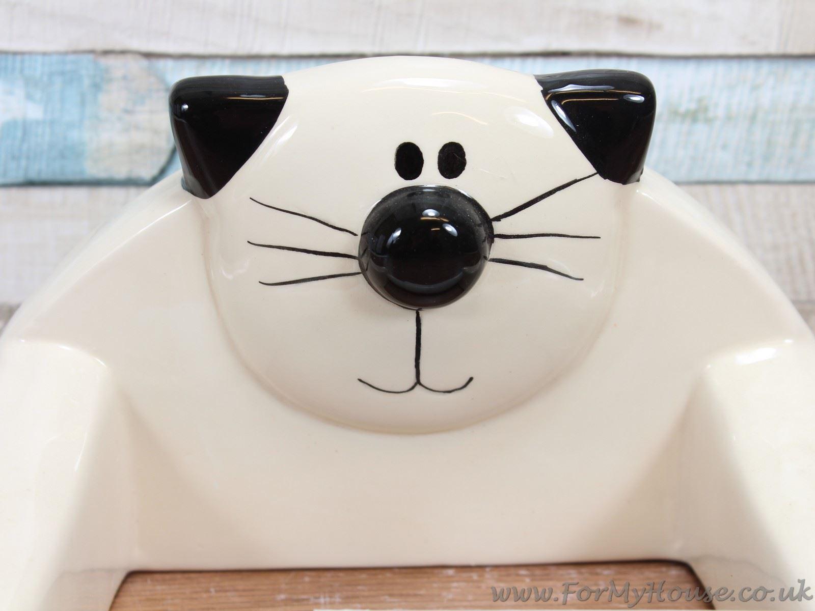 2kewt Novelty Cat Cream Ceramic Toilet Roll Paper Holder