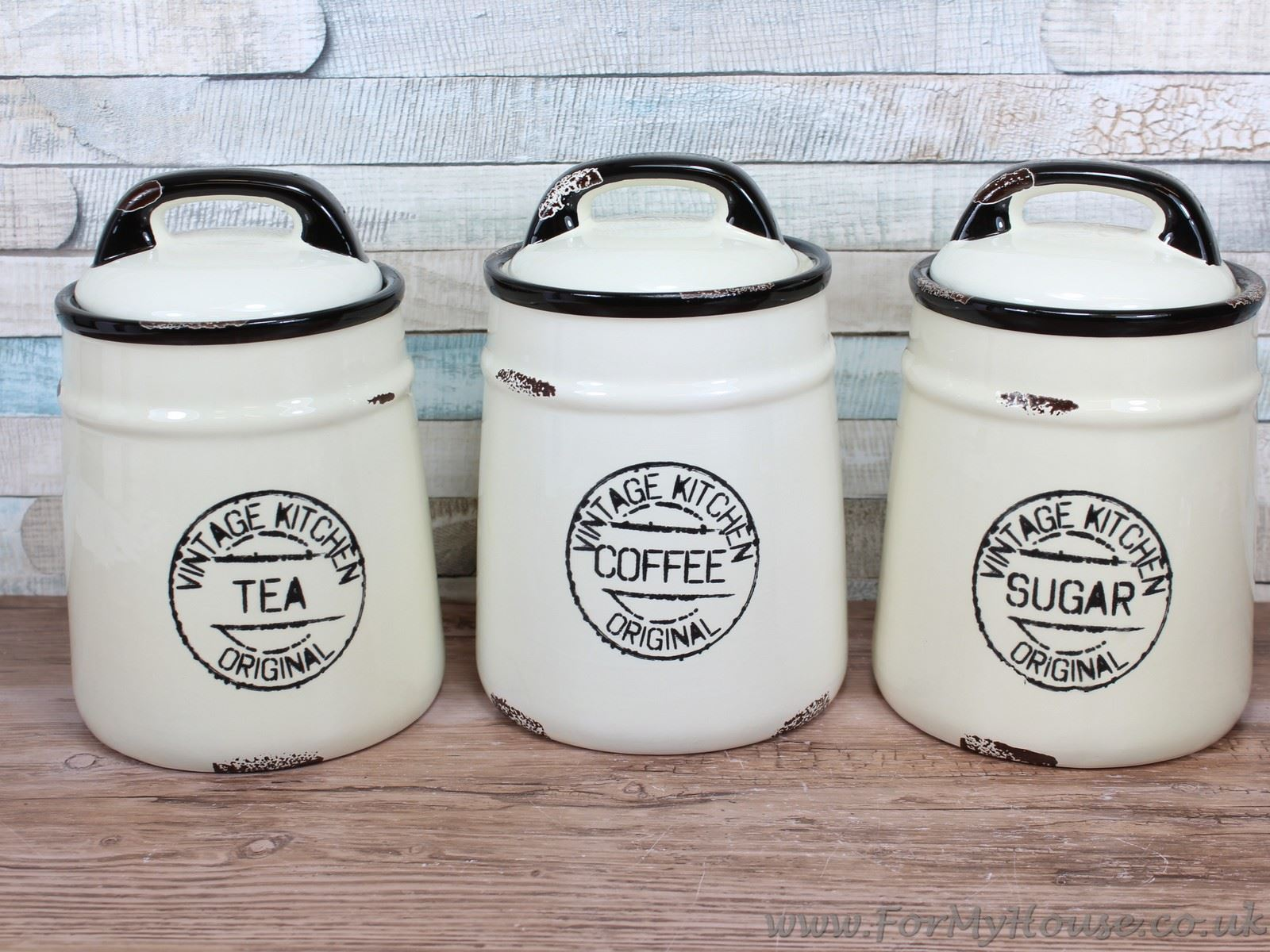 vintage kitchen cream ceramic tea coffee sugar canisters. Black Bedroom Furniture Sets. Home Design Ideas