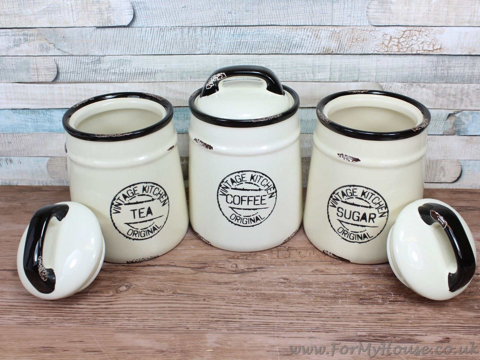 Vintage Kitchen Cream ceramic Tea coffee & sugar canisters