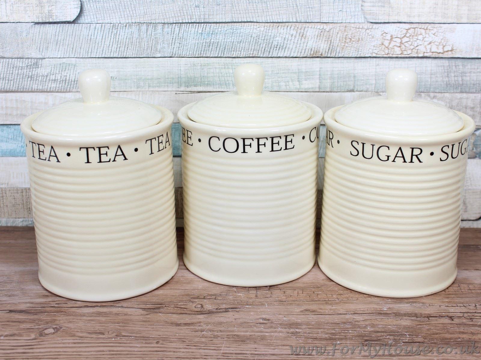 classic cream ceramic tea coffee sugar canisters kitchen. Black Bedroom Furniture Sets. Home Design Ideas
