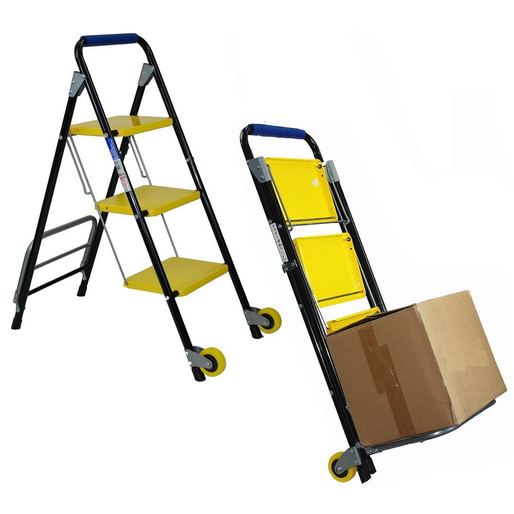 2 In 1 Folding Trolley With 3 Step Ladder Safety Non Slip