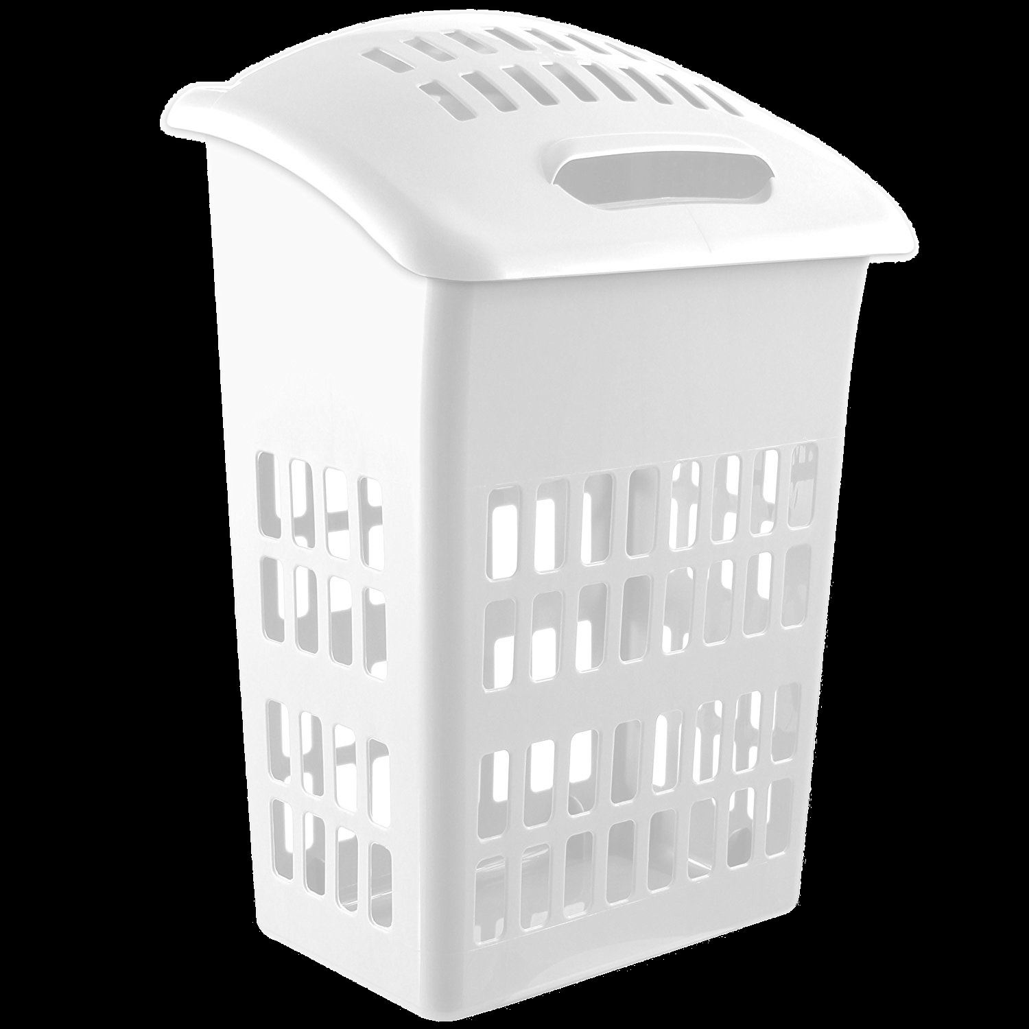 large 60 litre laundry hamper basket cloth washing storage bin with lid white ebay. Black Bedroom Furniture Sets. Home Design Ideas