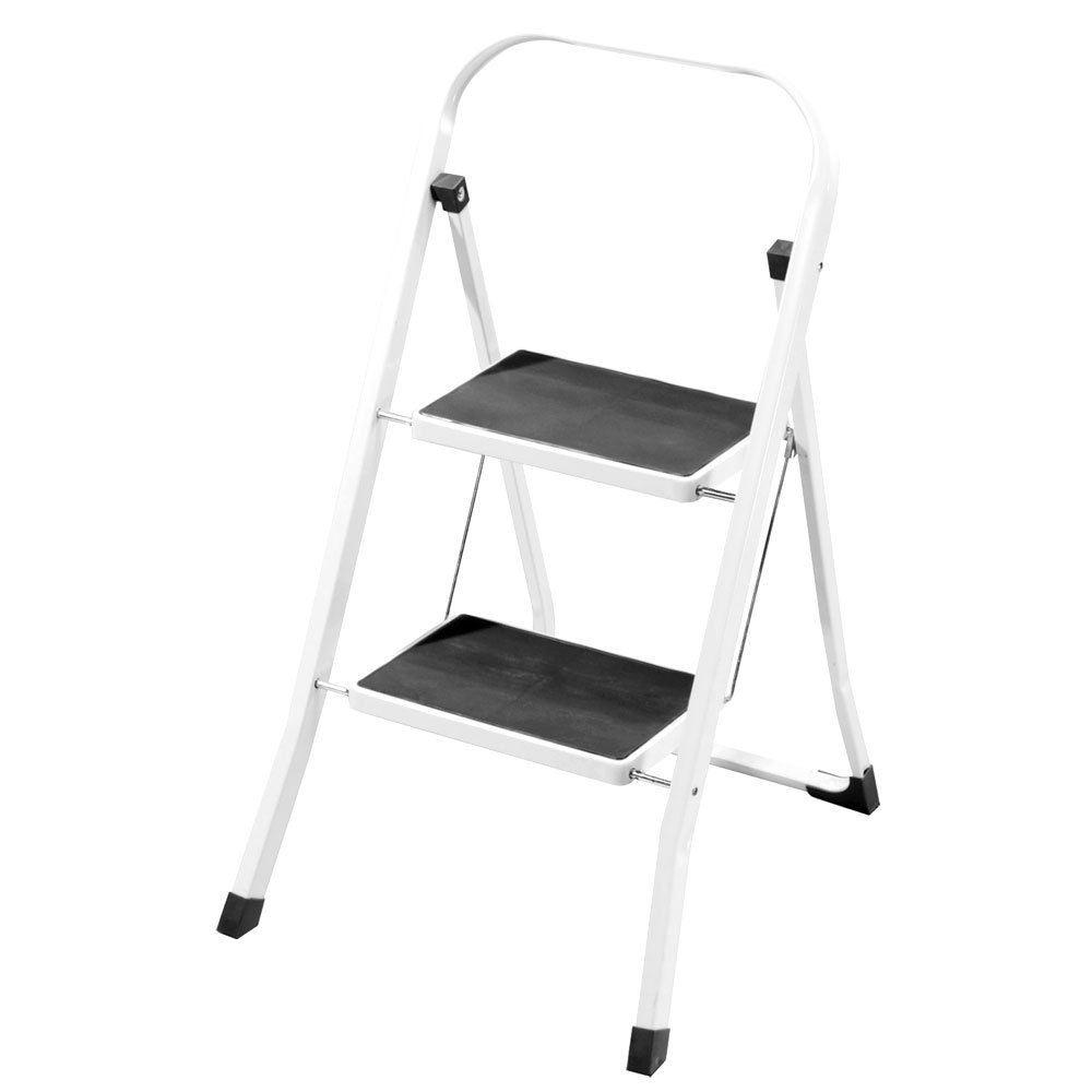 2 Step Ladder Safety Non Slip Mat Heavy Duty Steel Folding