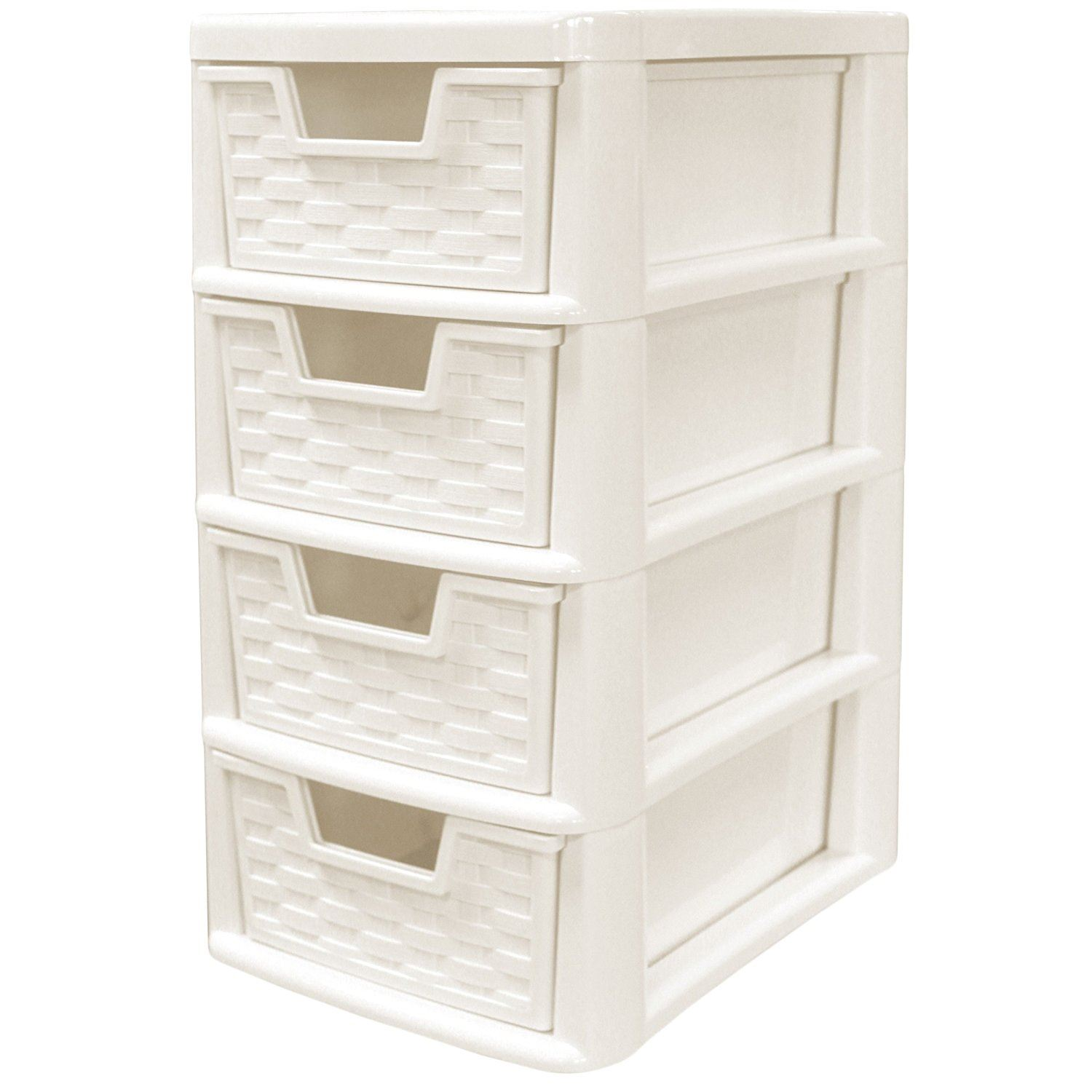 Rattan style plastic small 4 drawer tower storage unit for for 4 unit