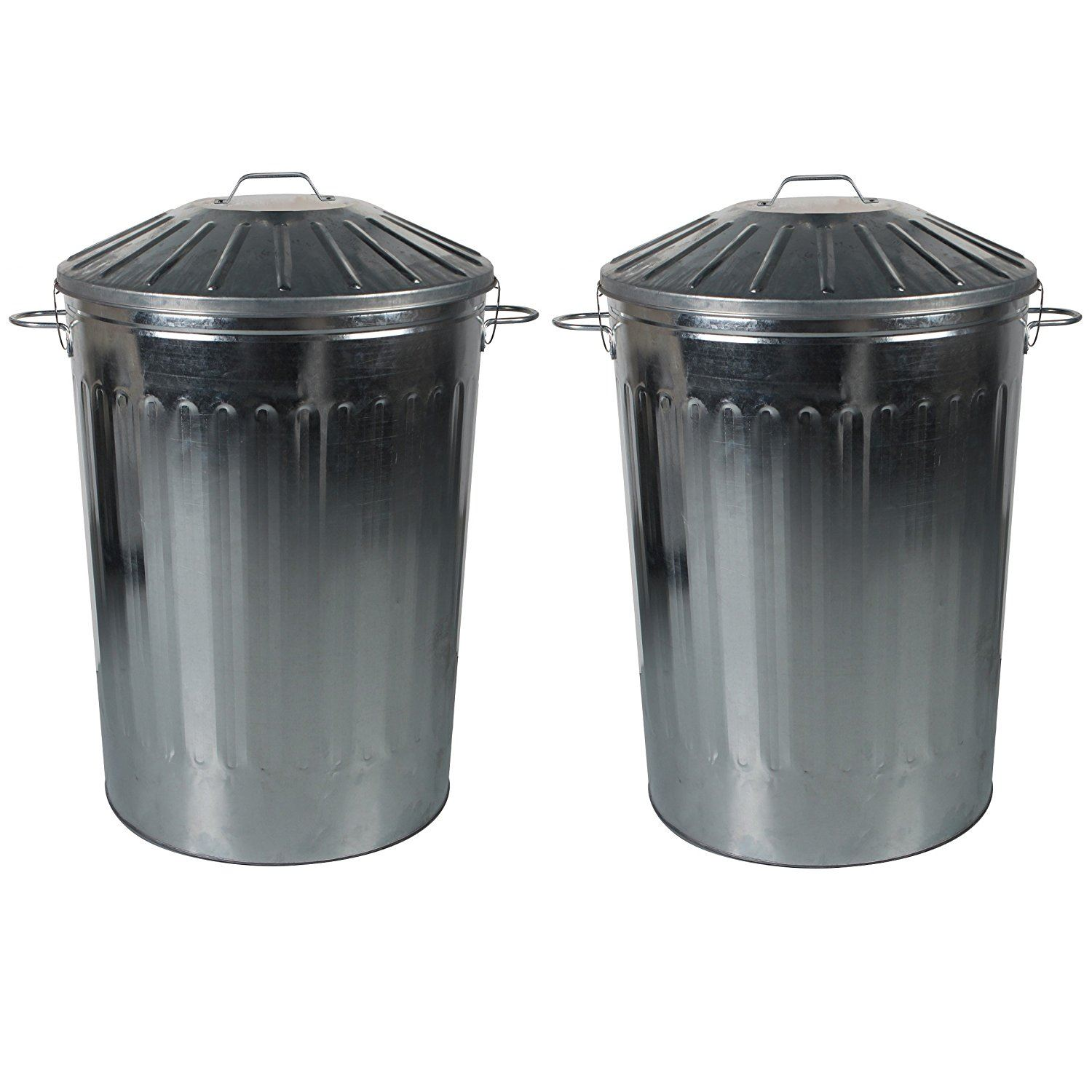 2 x 125l extra large metal dustbin home garden unit bin with special locking lid ebay. Black Bedroom Furniture Sets. Home Design Ideas