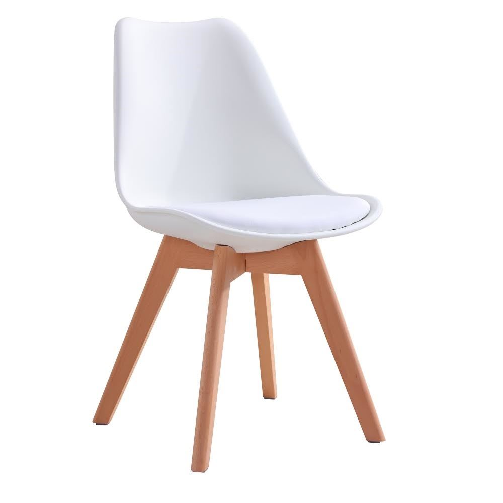 Inspired dining chair natural solid wood legs with for Natural wood dining chairs