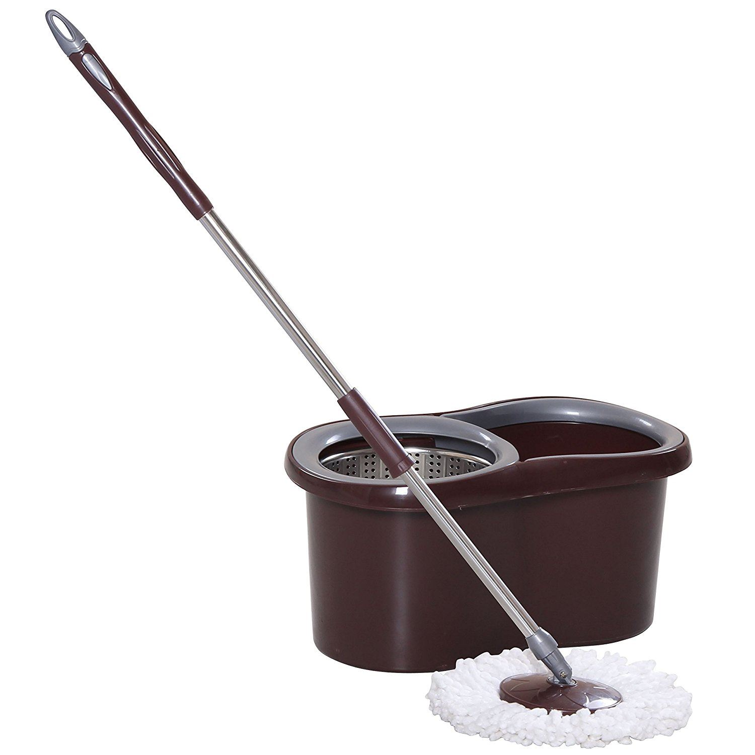 ... Magic-Spin-15-Litre-Mop-Bucket-Stainless-Steel-Spinner-and-Microfiber