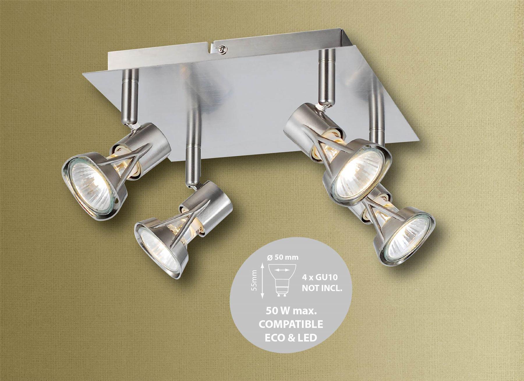 1 2 3 4 Way Spotlight Bar Die-Cast Lamp Cap Ceiling Light GU10 in Satin
