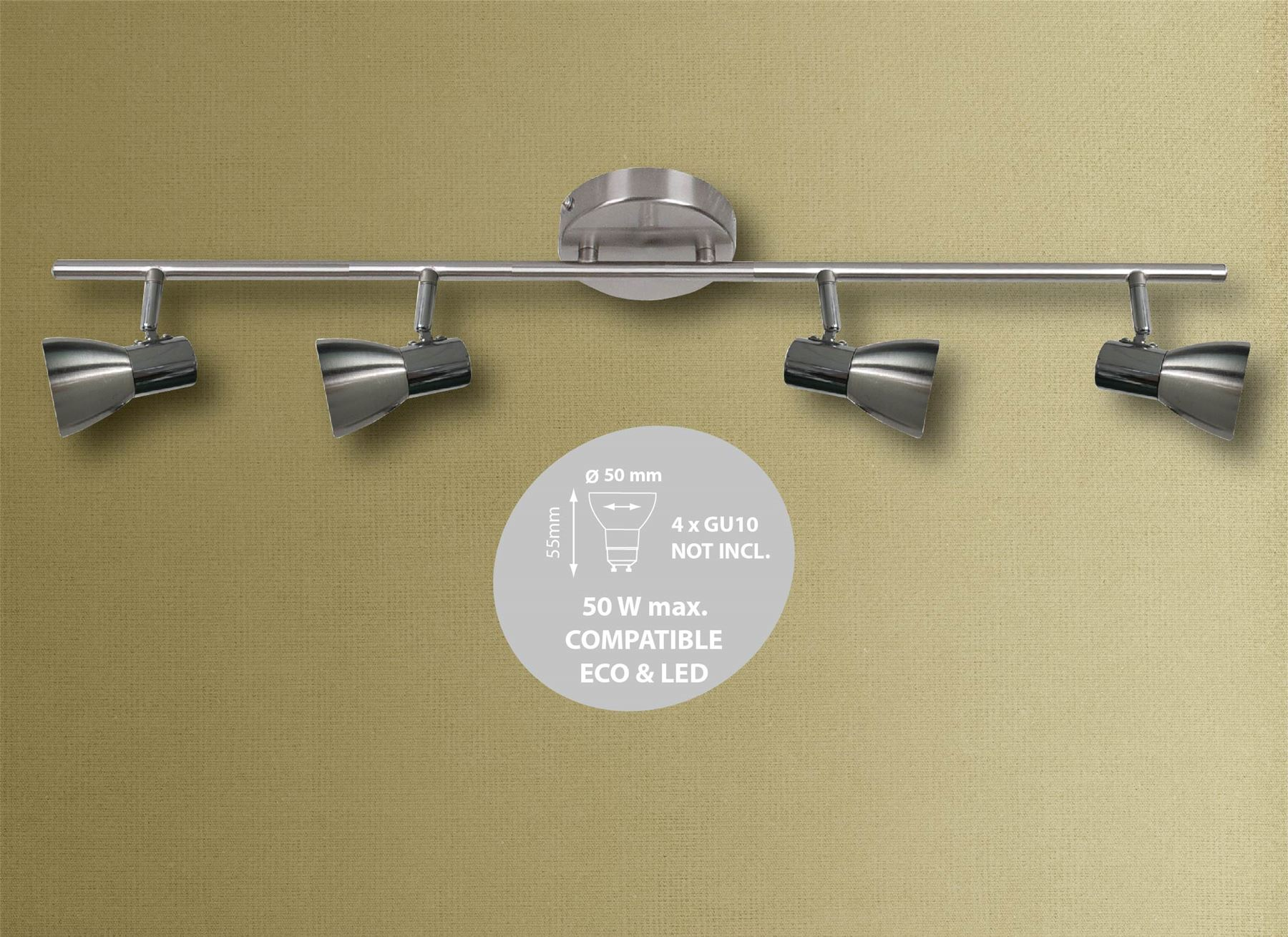 1 2 3 or 4 Head Round Base Spotlight Bar Ceiling Light GU10 in Brushed Satin