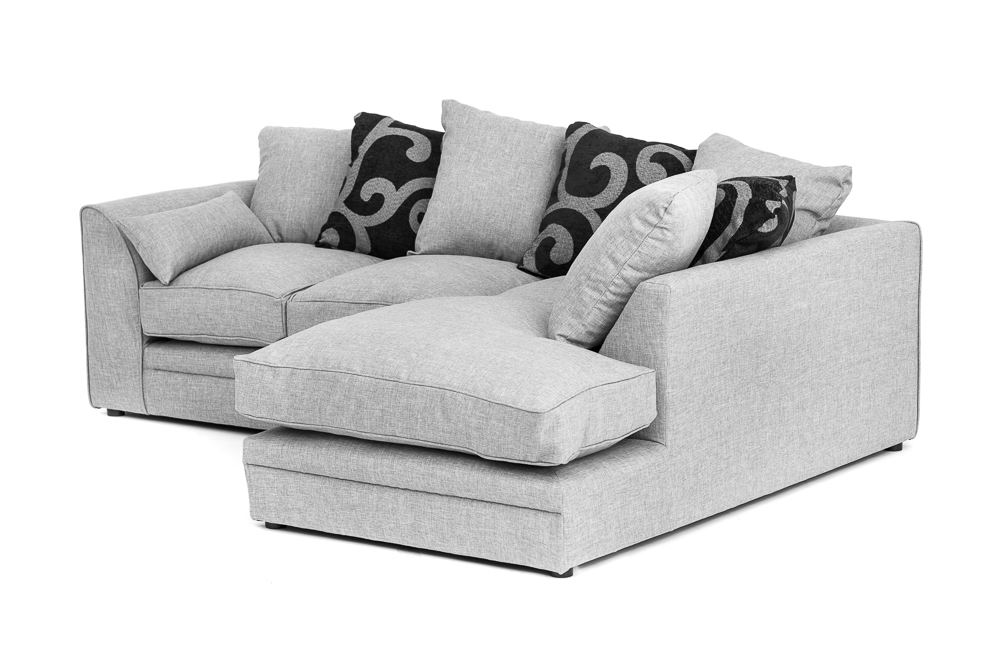 Darcy Corner Sofa In Grey Fabric With Footstool Armchair 2 Or 3 Seater