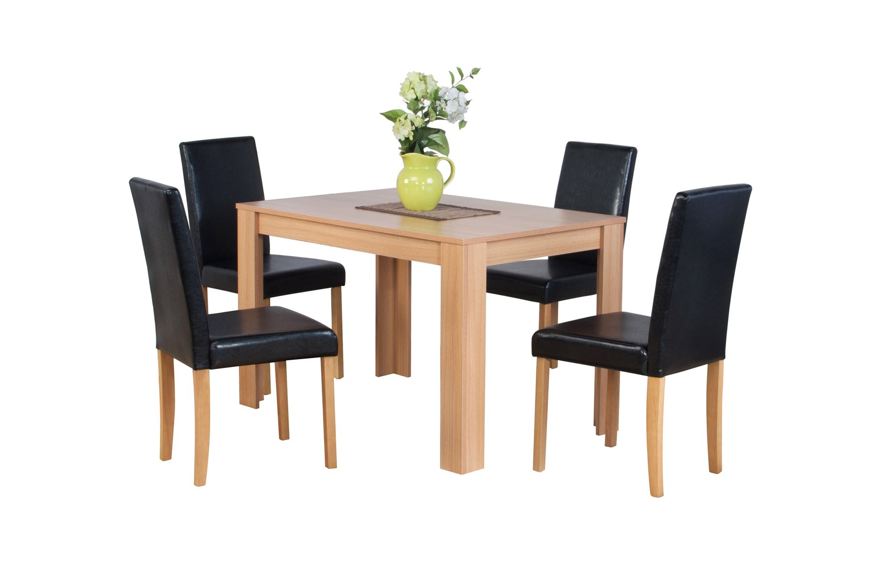 Dover Natural Or Dark Brown Oak Effect Wooden Dining Table