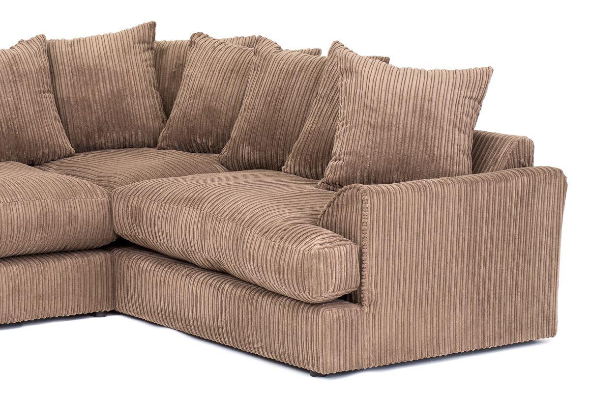 ferguson cord chenille fabric corner sofa in grey or brown ebay. Black Bedroom Furniture Sets. Home Design Ideas
