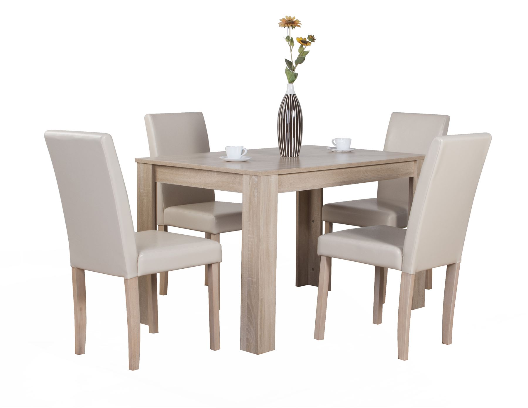 Dover White Oak Effect Wooden Dining Table And