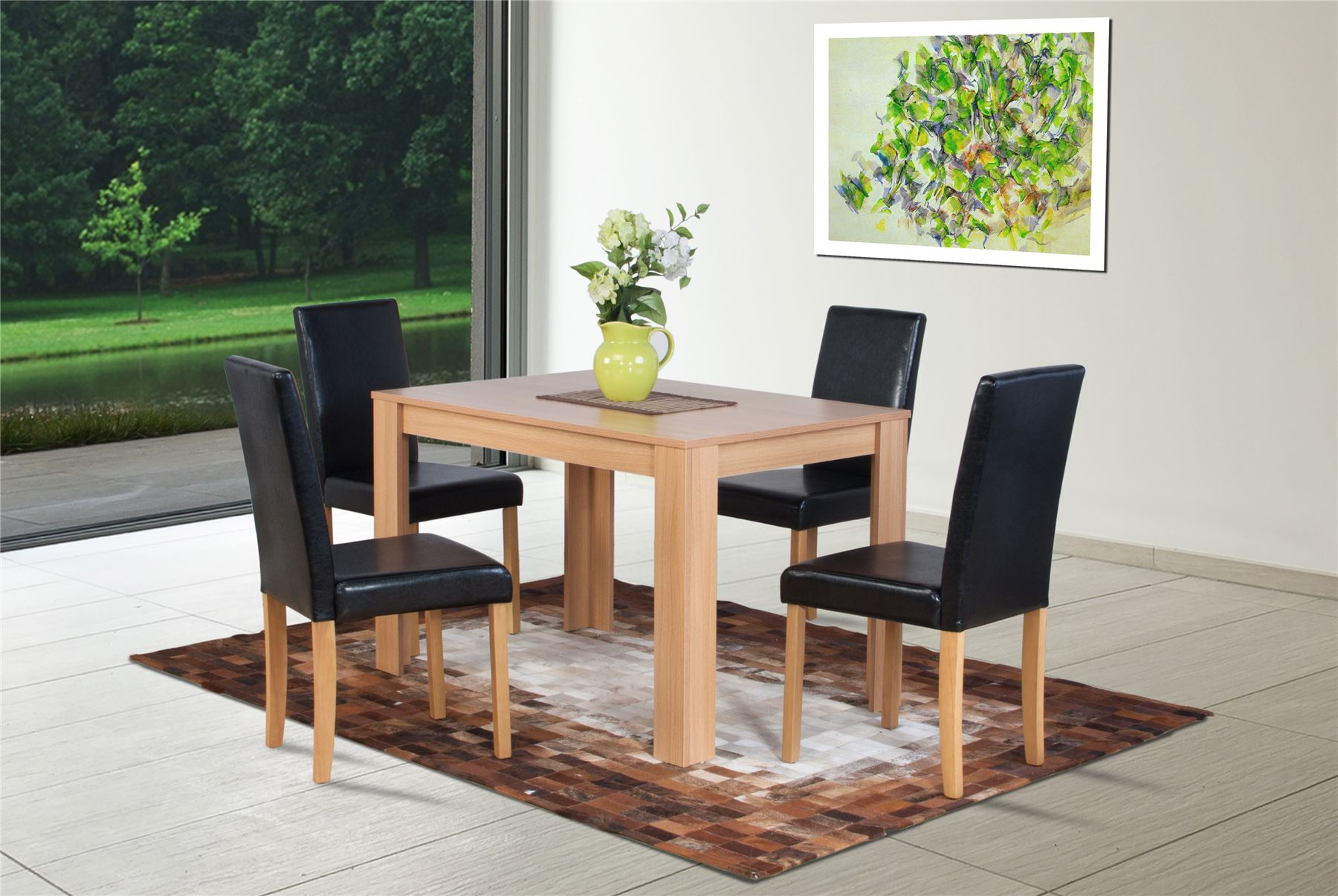 oak effect extending dining table