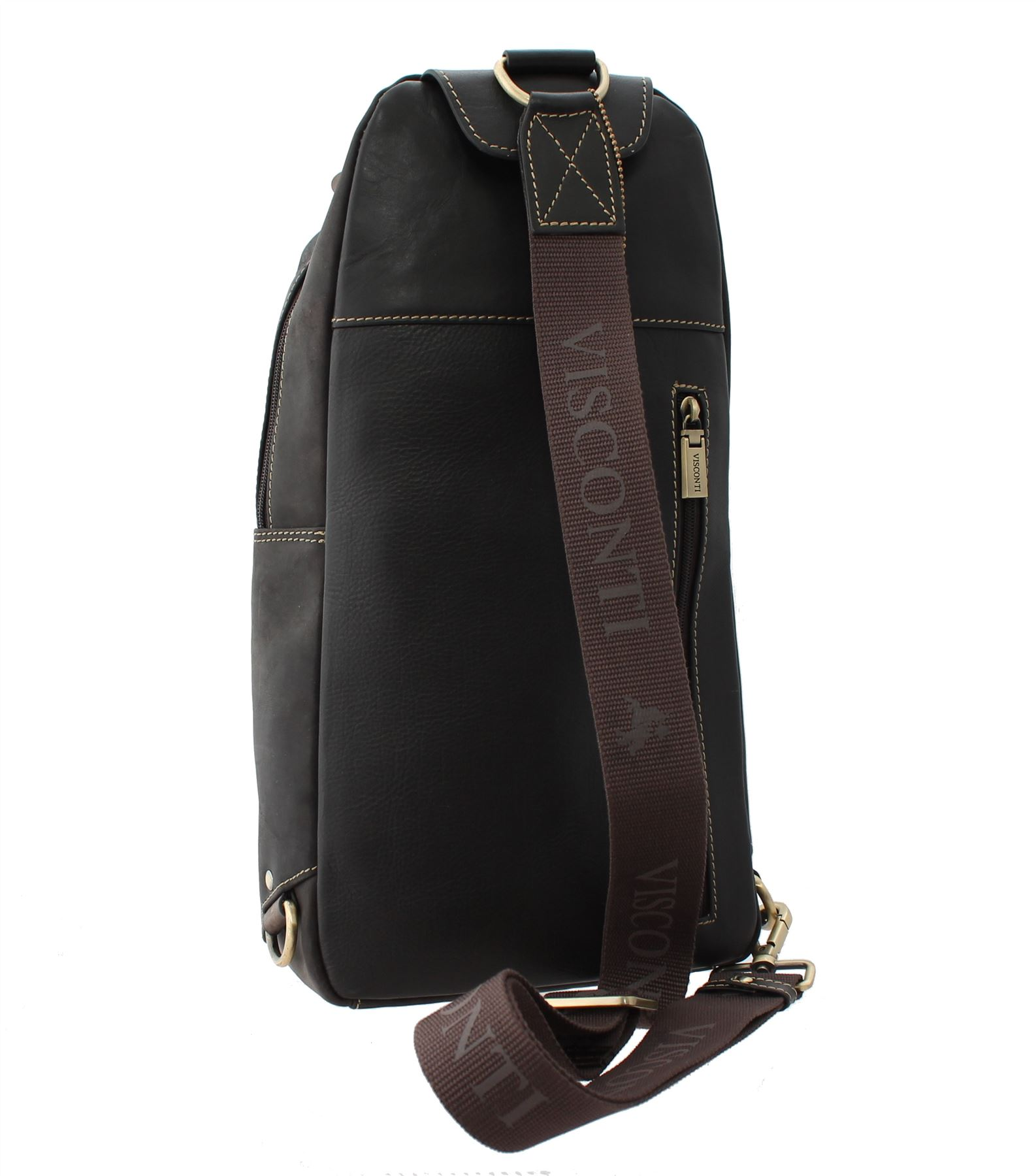 Visconti SHARK Single Strap Oiled Leather Backpack 16132 | eBay