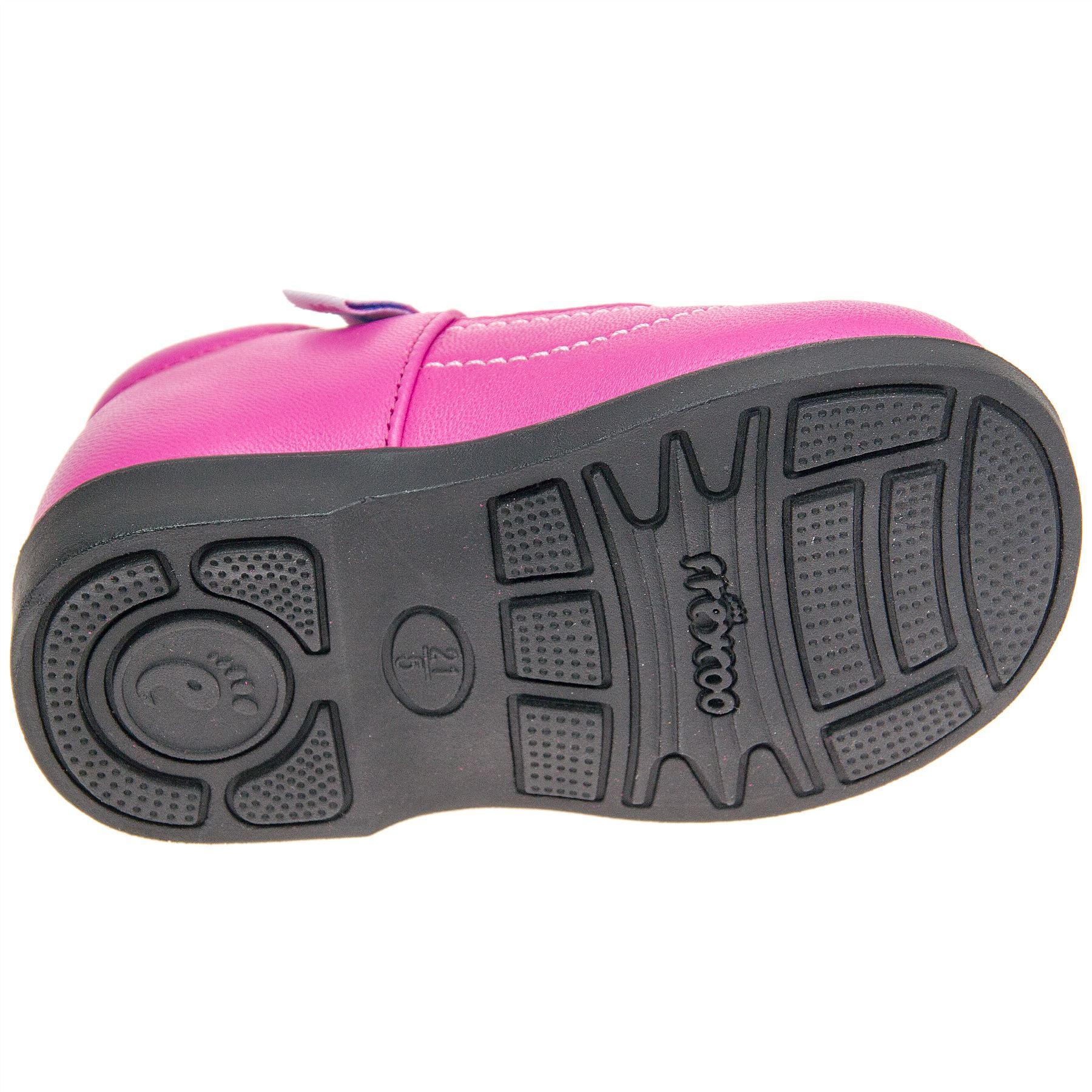 Mädchen Kinder echt Leder Lauflernschuhe - Leuchtend Pink mit Klettverschluss