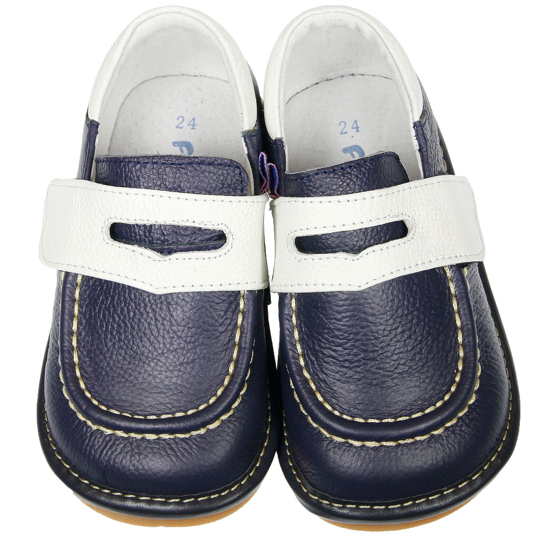 Jungen Mädchen Kinder piepsig Echtlederschuhe - marineblau & weiß
