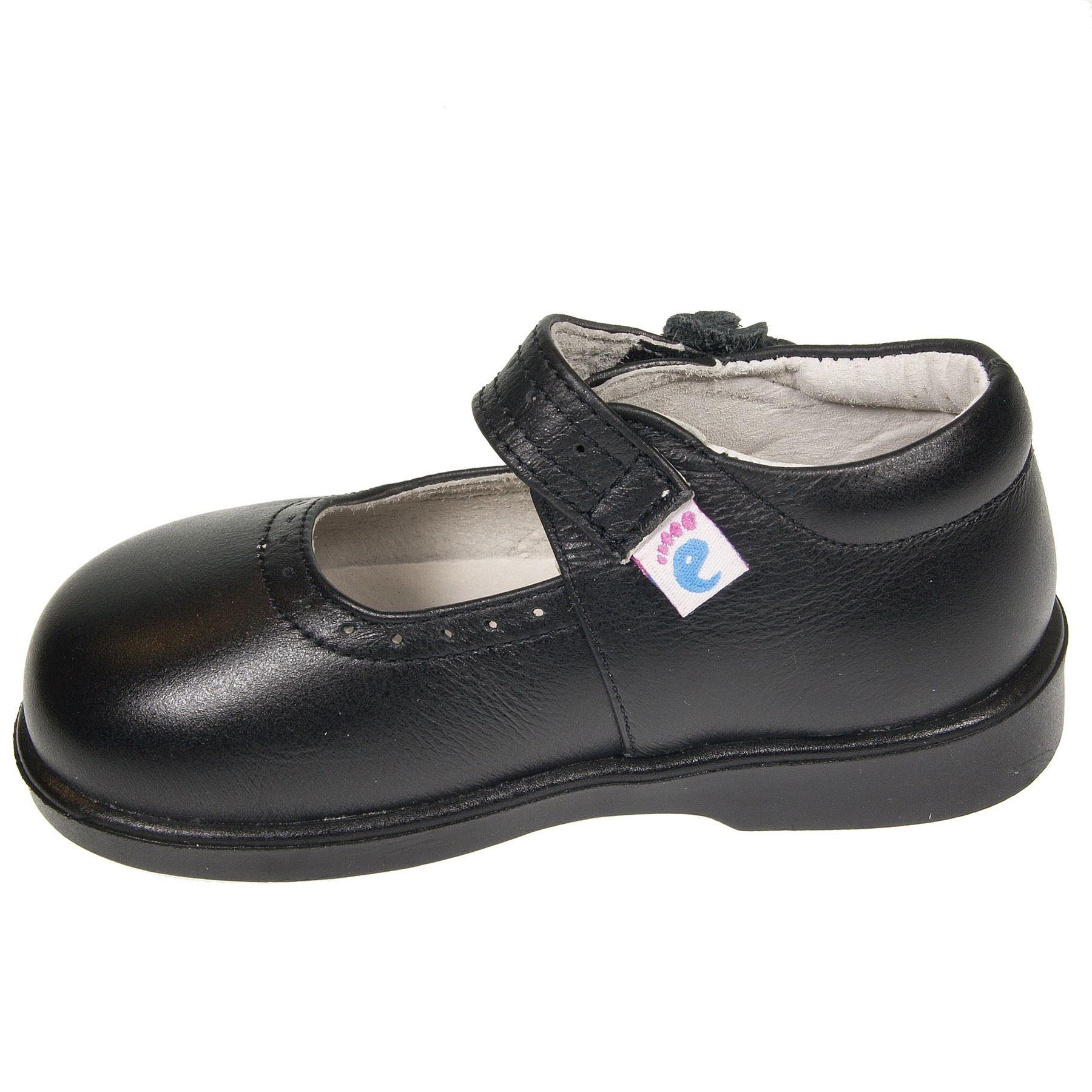Zapatos Piel Auténtica Niños Bebé Chicas - Zapatos Colegio Negro Mate con Velcro