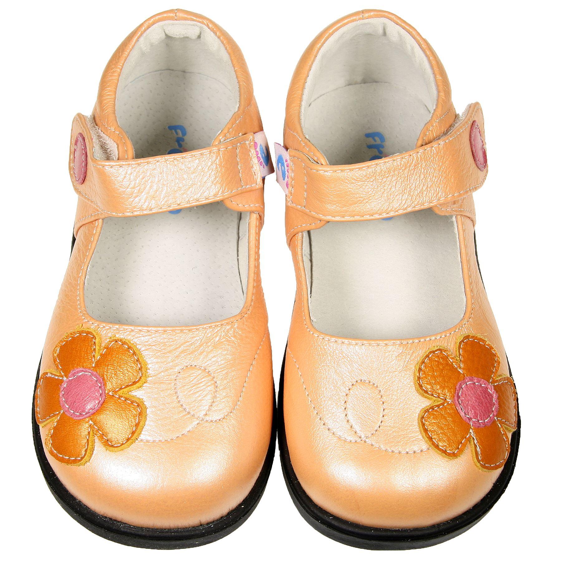 Zapatos para Niña Bebé Infantiles Piel Auténtica naranja pálido cierre de velcro
