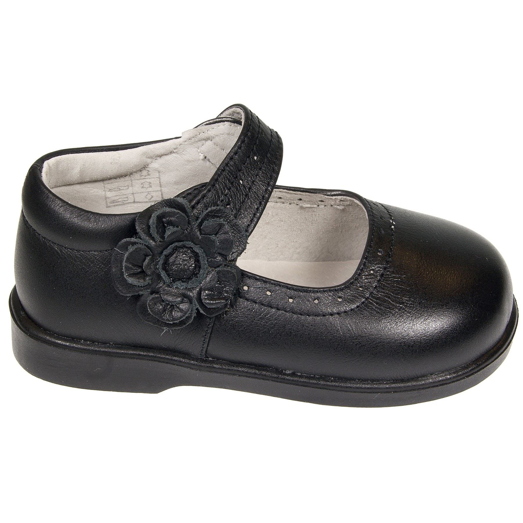 chaussure cuir v ritable fille b b enfant chaussure ecole noir mat avec velcro ebay. Black Bedroom Furniture Sets. Home Design Ideas