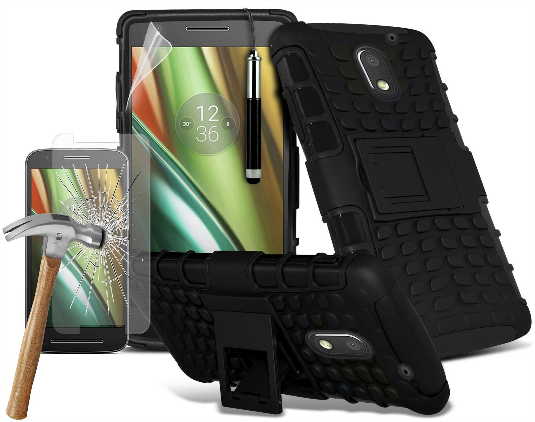 Motorola-Moto-E3-Dual-Layer-Tough-Shockproof-Armour-Case-amp-Tempered-Glass