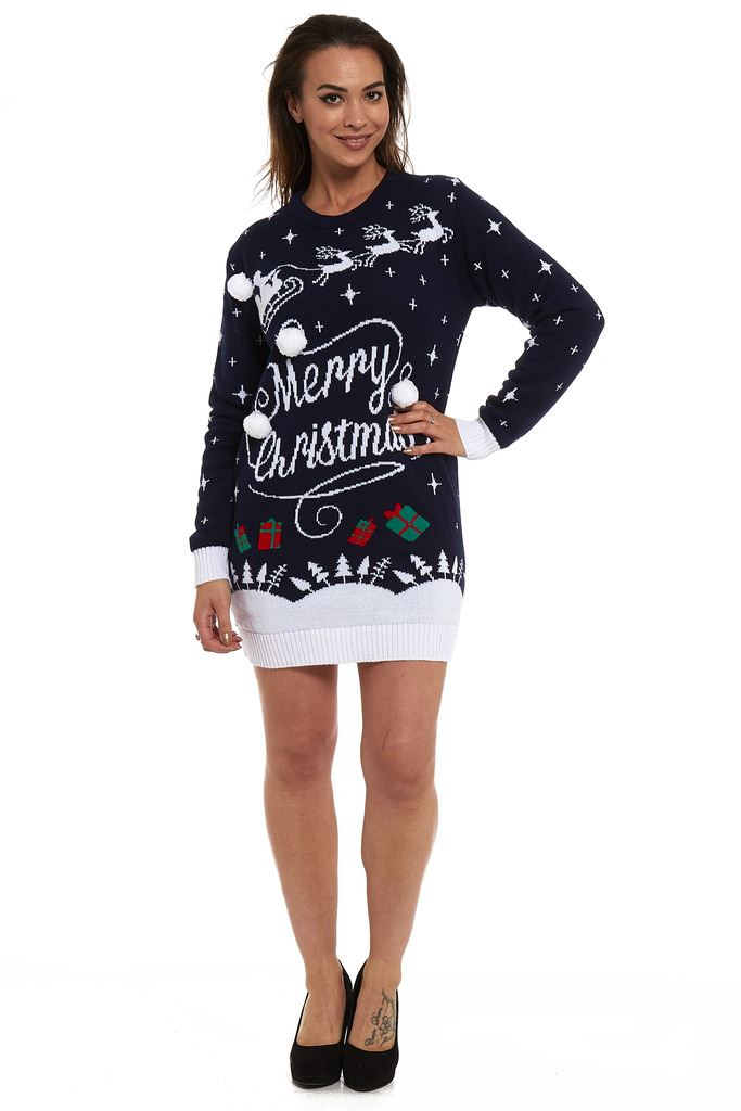 New Ladies Womens Novelty Christmas Xmas Knitted Tunic