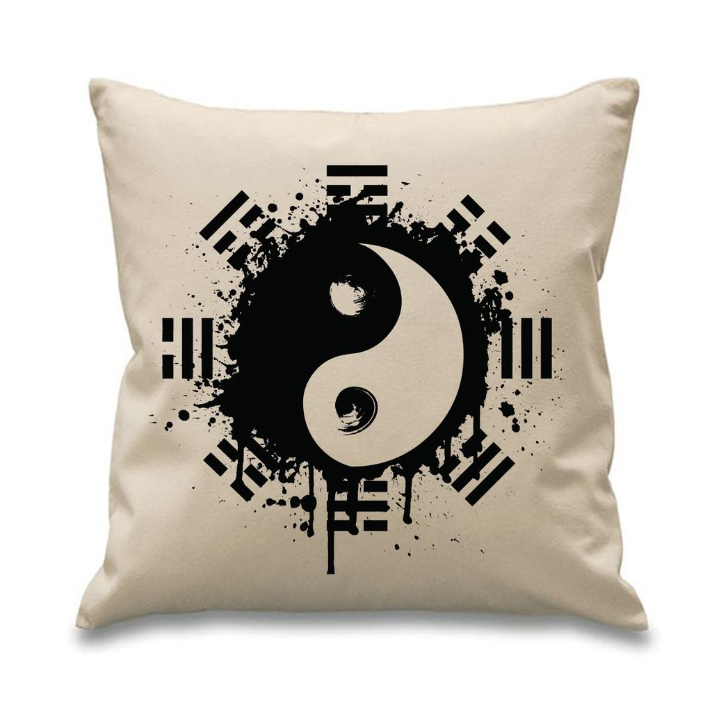 Yin And Yang Grunge 18 X 18 Filled Sofa Throw Cushion