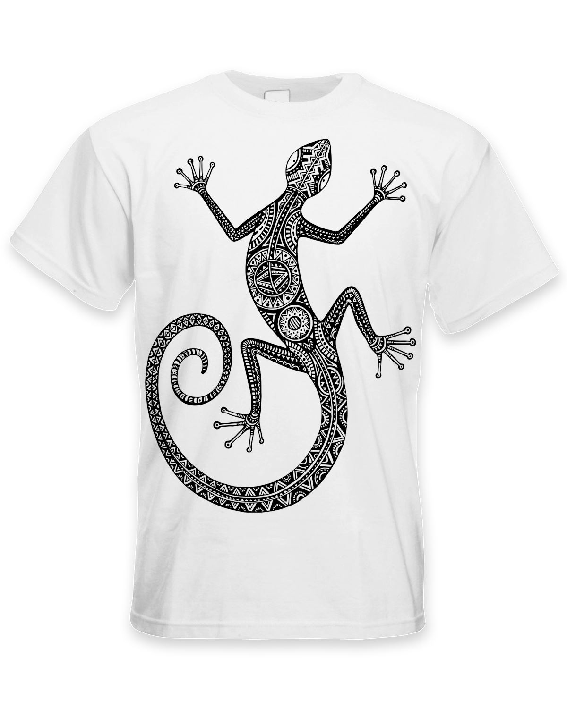 Tribal lizard design tattoo large print men 39 s t shirt for Tribal tattoo shirt