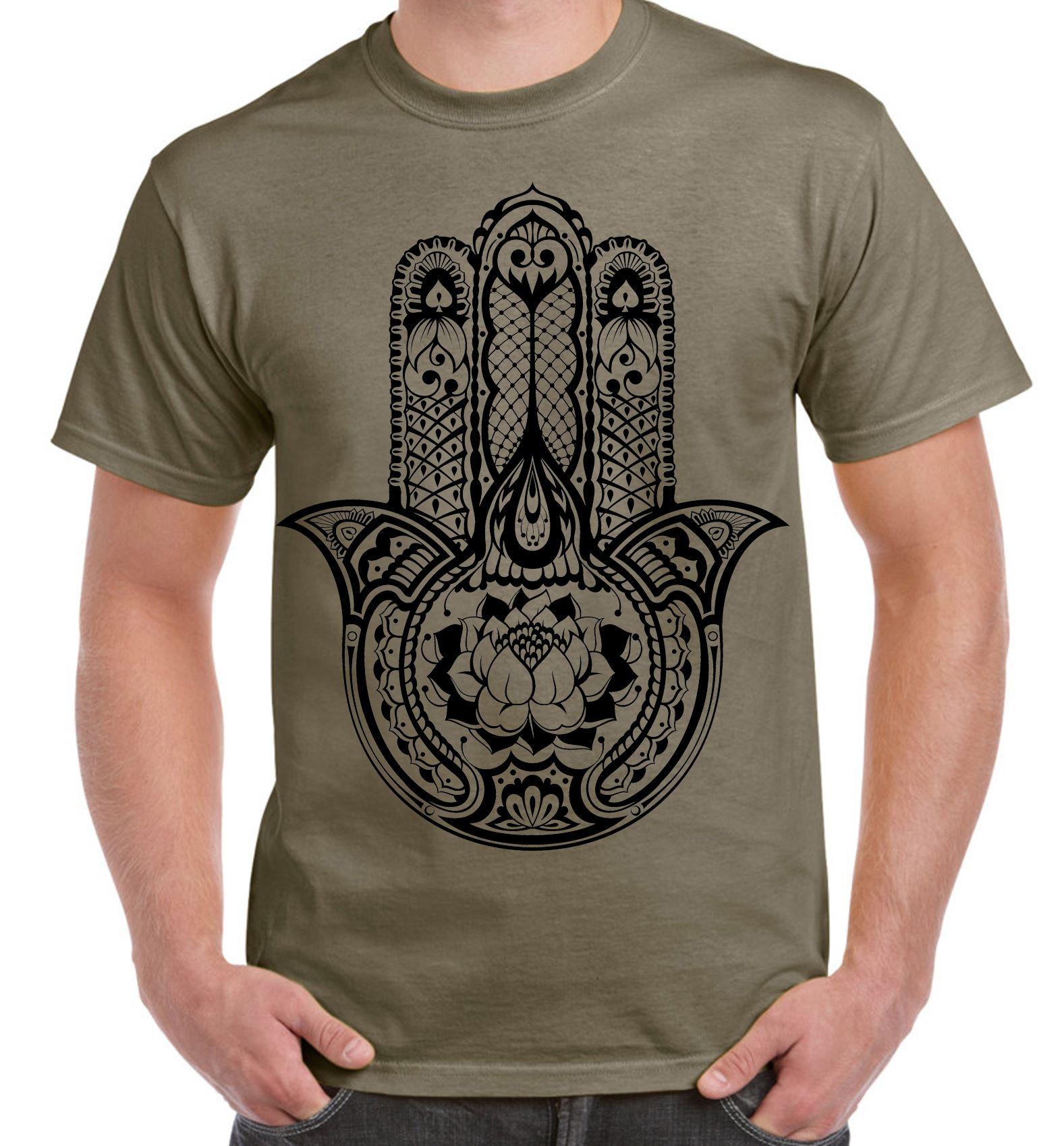 Tribal hamsa hand of fatima tattoo large print men 39 s t for Tribal tattoo shirt