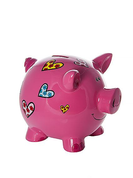 Large piggy bank coin box money bank with hearts kids or Decorative piggy banks for adults
