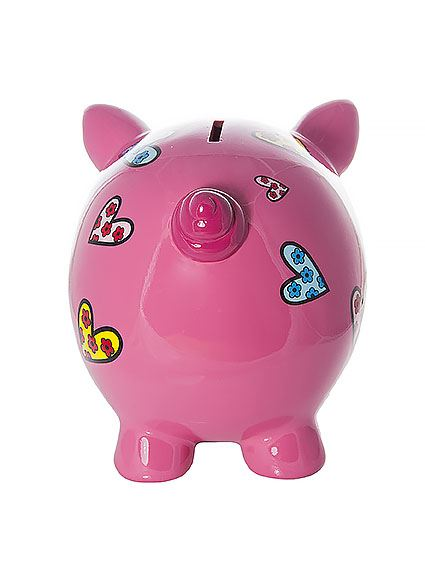 Large Big Pink Pig Piggy Bank Money Coin Box With Hearts