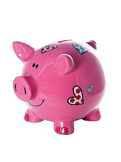 Large big pink pig piggy bank money coin box with hearts Large piggy banks for adults