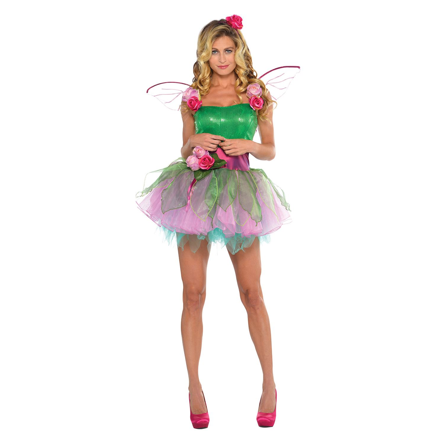 Womens Woodland Nymph Fairy Fancy Dress Costume Dress with ...