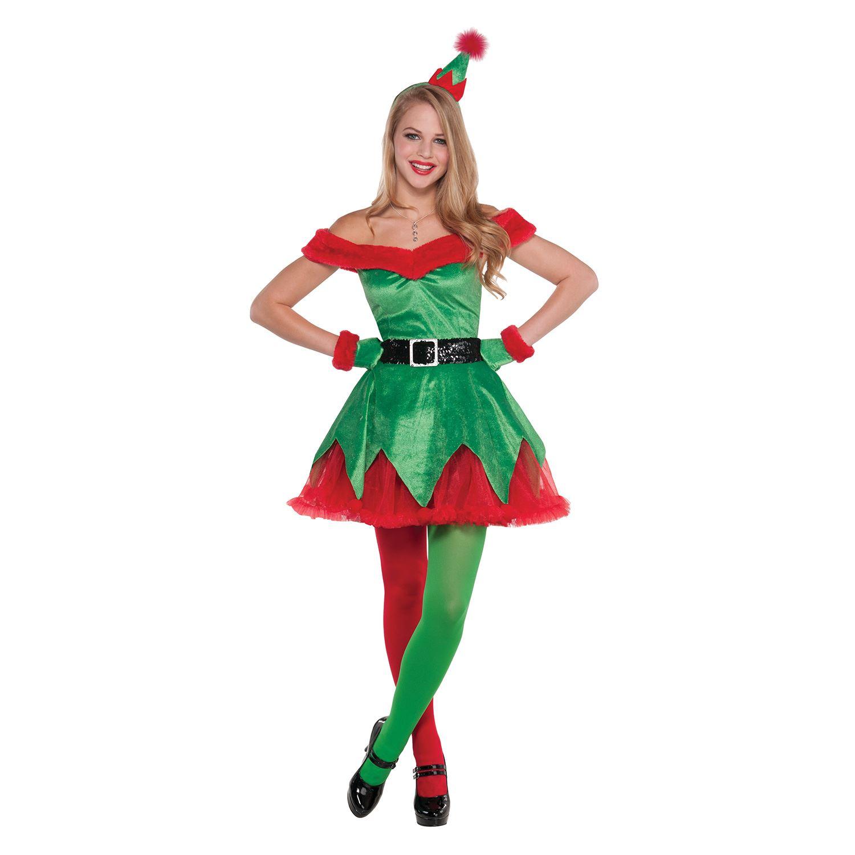 Womens santas little helper christmas elf fancy dress