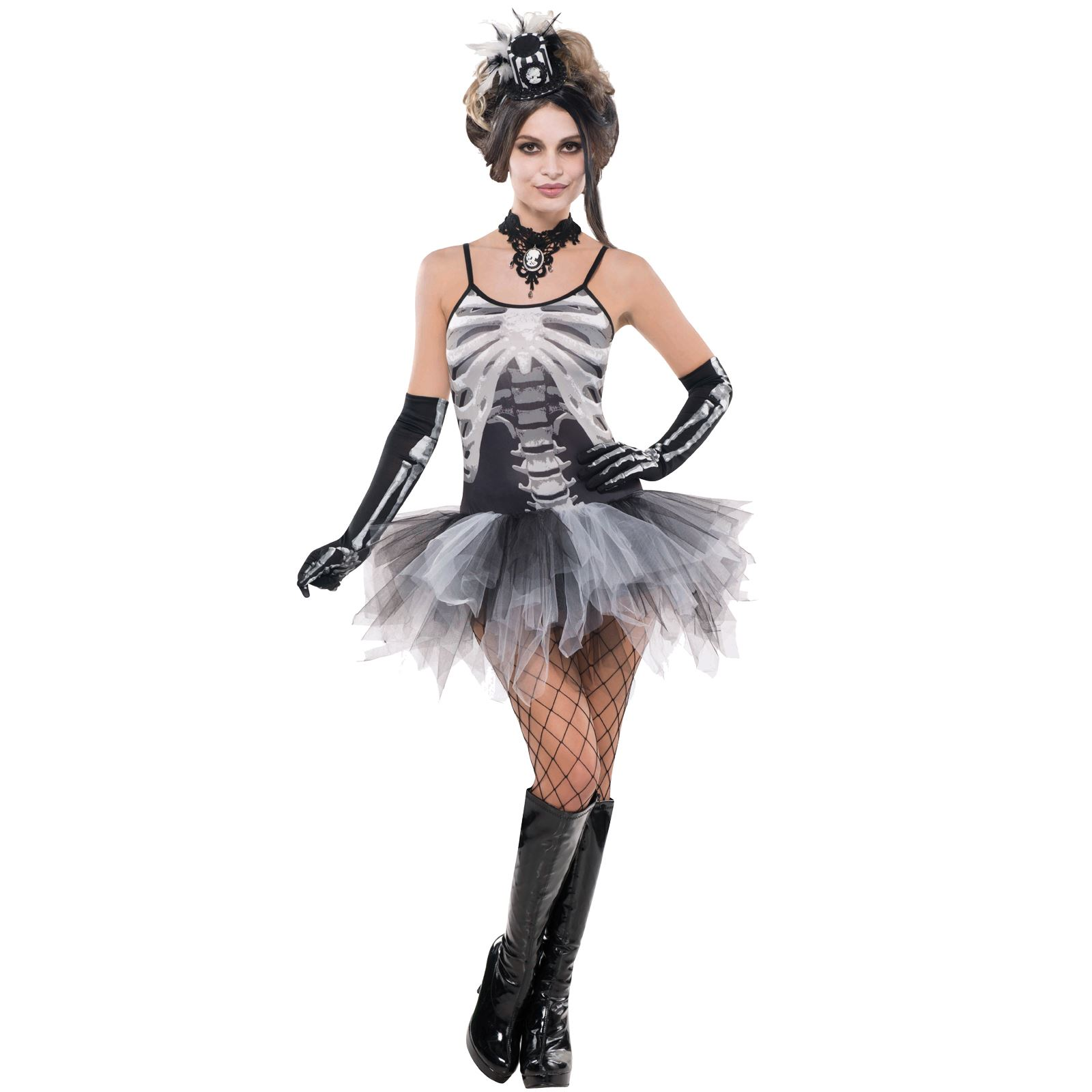 Hostess Gift Ideas Ladies Sexy Skeleton Print Tutu Fancy Dress Costume