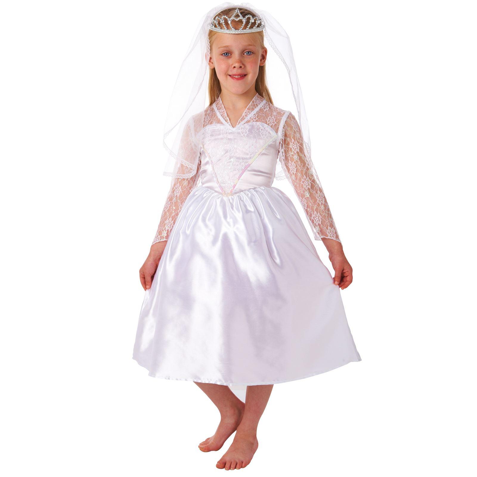 Girls Bride Princess Fairy Christmas White Fancy Dress