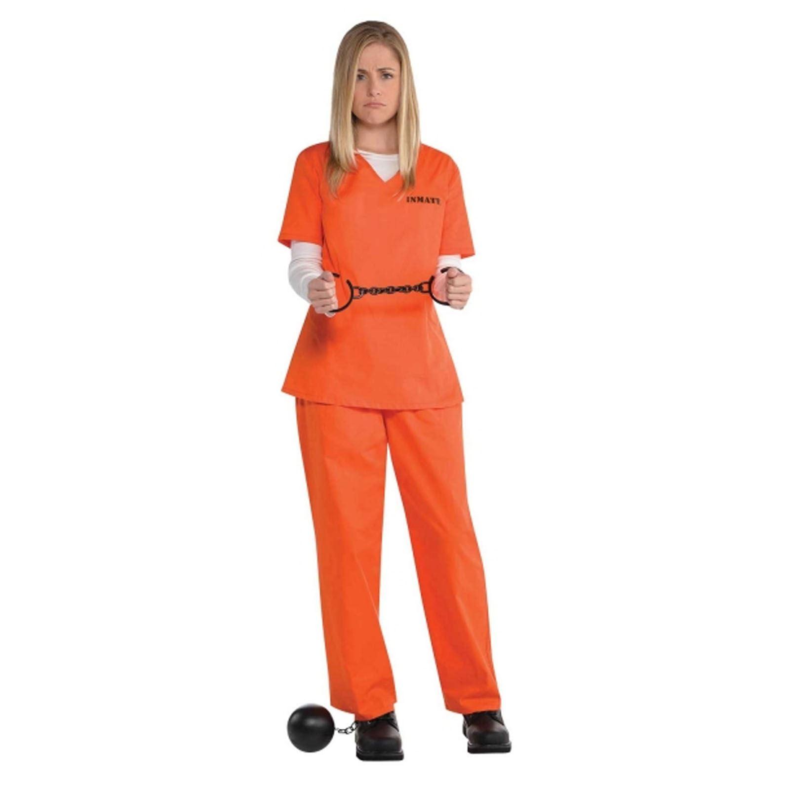 Ladies Orange Inmate Uniform Convict Prisoner New Black Fancy ...