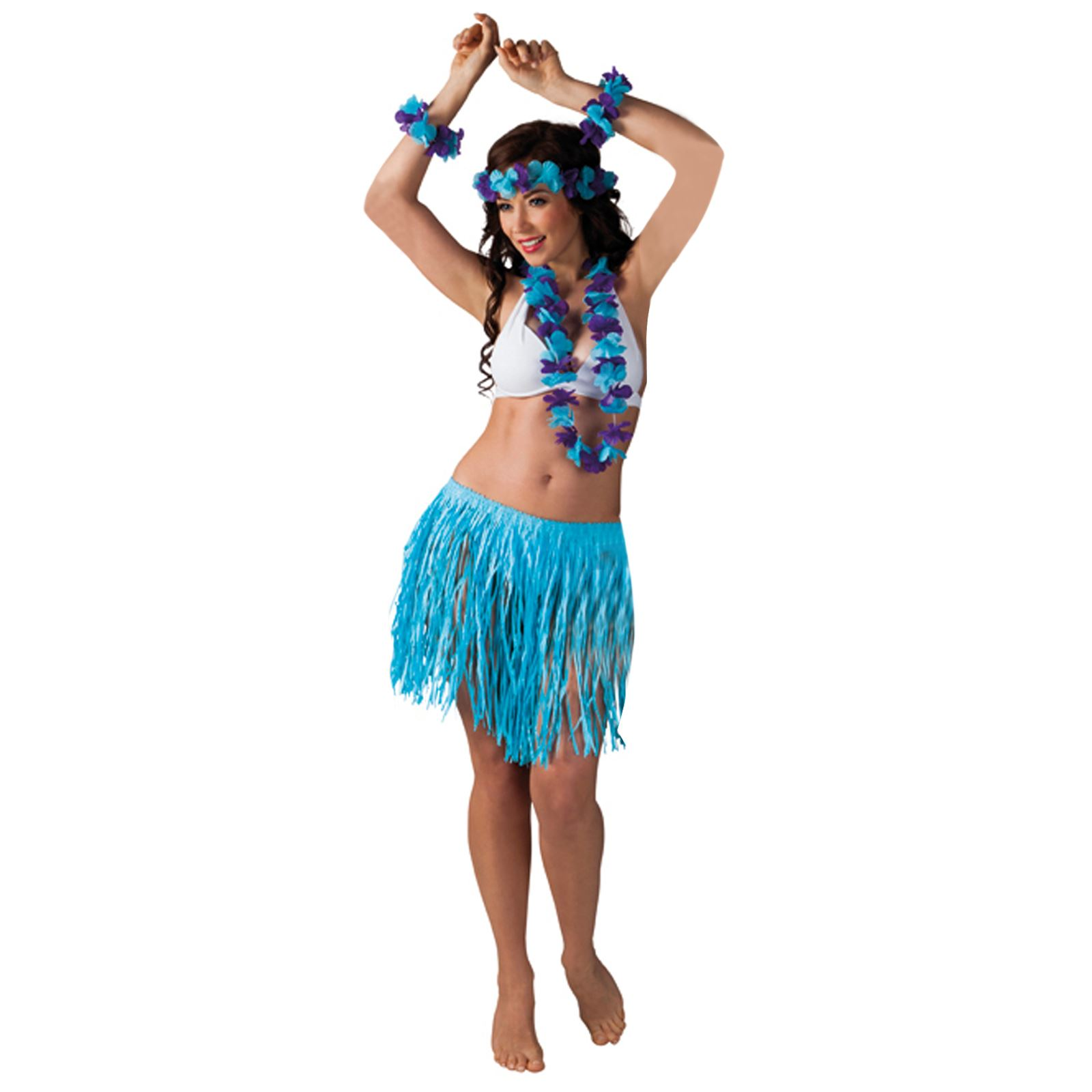 Womans Hawaiian BBQ Party Girl Set Halloween Fancy Dress Costume Outfit One Size | eBay