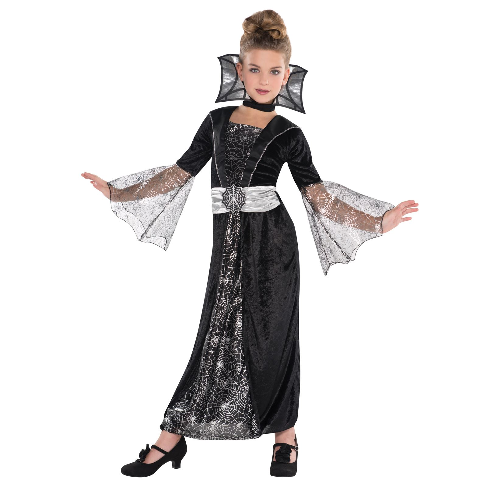 girls black vampire ghost halloween fancy dress costume outfit age 4 6 8 10 year ebay. Black Bedroom Furniture Sets. Home Design Ideas