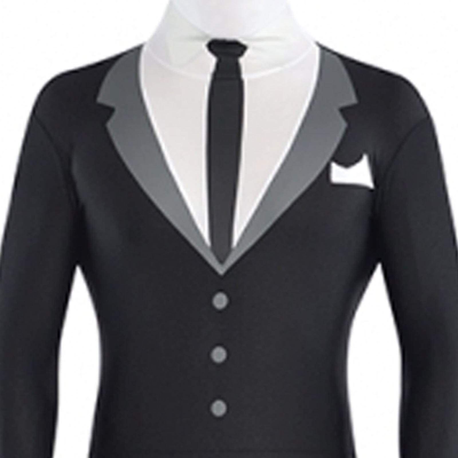 halloween spandex body suit tux teen men fancy dress scary costume slenderman bn ebay - Halloween Costume Slender Man