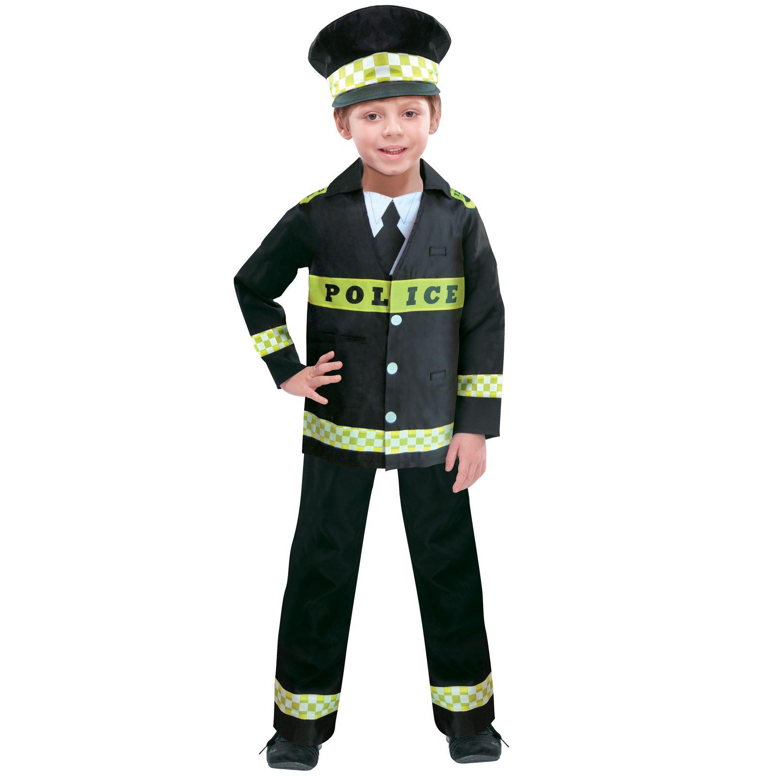 Kids Boys Book Week Fancy Dress Costume Police Cop ...
