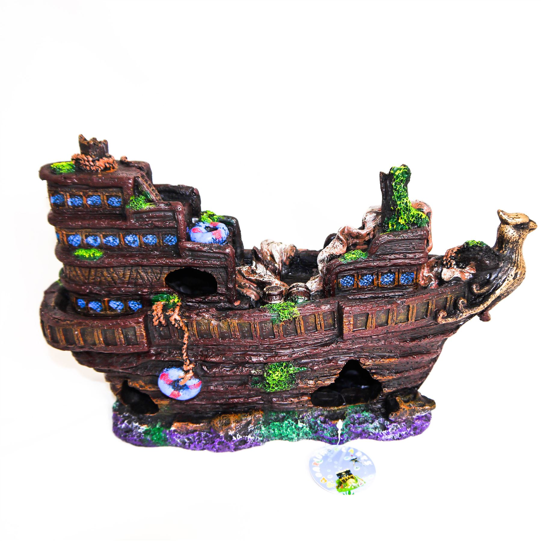 Large sunken galleon aquarium fish tank shipwreck for Aquarium decoration shipwreck