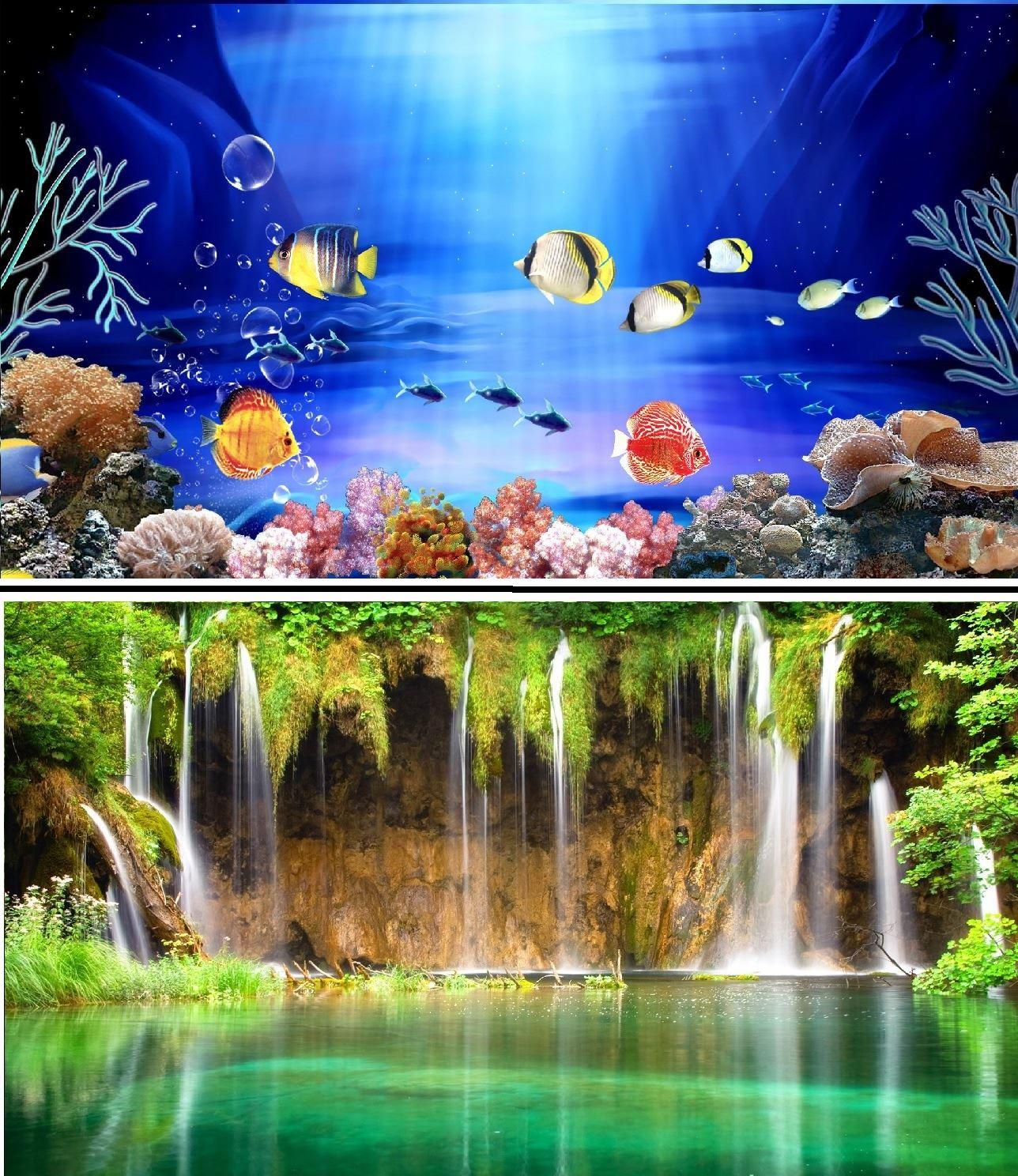 Fish aquarium in bangladesh - 31 Double Sided Aquarium Background Backdrop Fish Tank Reptile Vivarium Marine