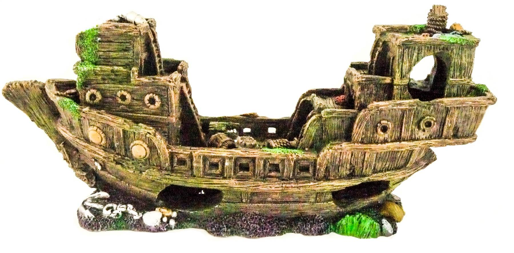 Large aquarium shipwreck ornament decoration tropical for Aquarium decoration shipwreck
