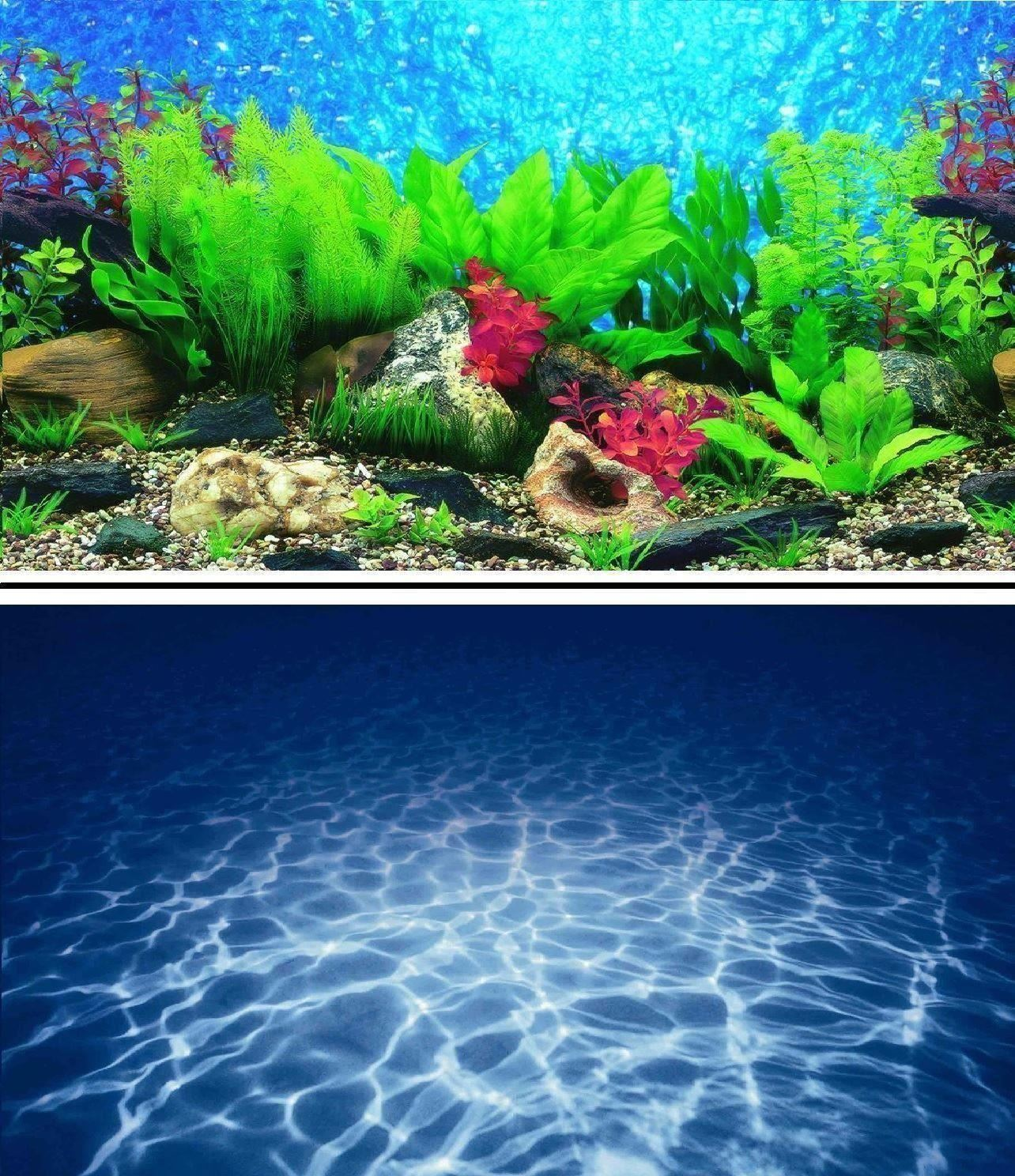 "16"" Double Sided Aquarium Background Backdrop Fish Tank Reptile Vivarium Marine 