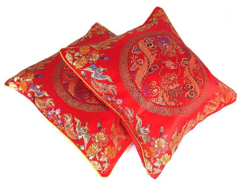 kissenbez ge 2 st ck orientalisch chinesisch 40x40cm rot. Black Bedroom Furniture Sets. Home Design Ideas