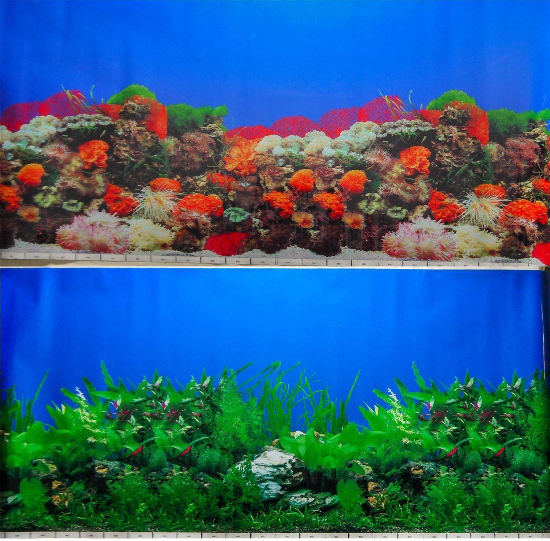 "24"" Double Sided Aquarium Background Backdrop Fish Tank Reptile Vivarium Marine 