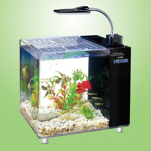 Hidom aquarium fish tank 15l mini office desktop h 235 for Fish tank with built in filter
